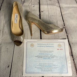 Jimmy Choo Crown Champagne Pumps size 39 or 9